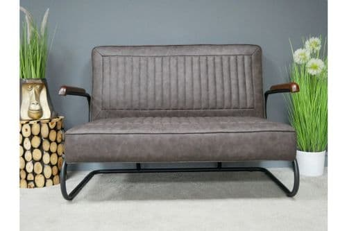 CONTEMPORARY RETRO GREY PU FAUX LEATHER PADDED LOUNGE 2 SEATER SOFA (DX7132)